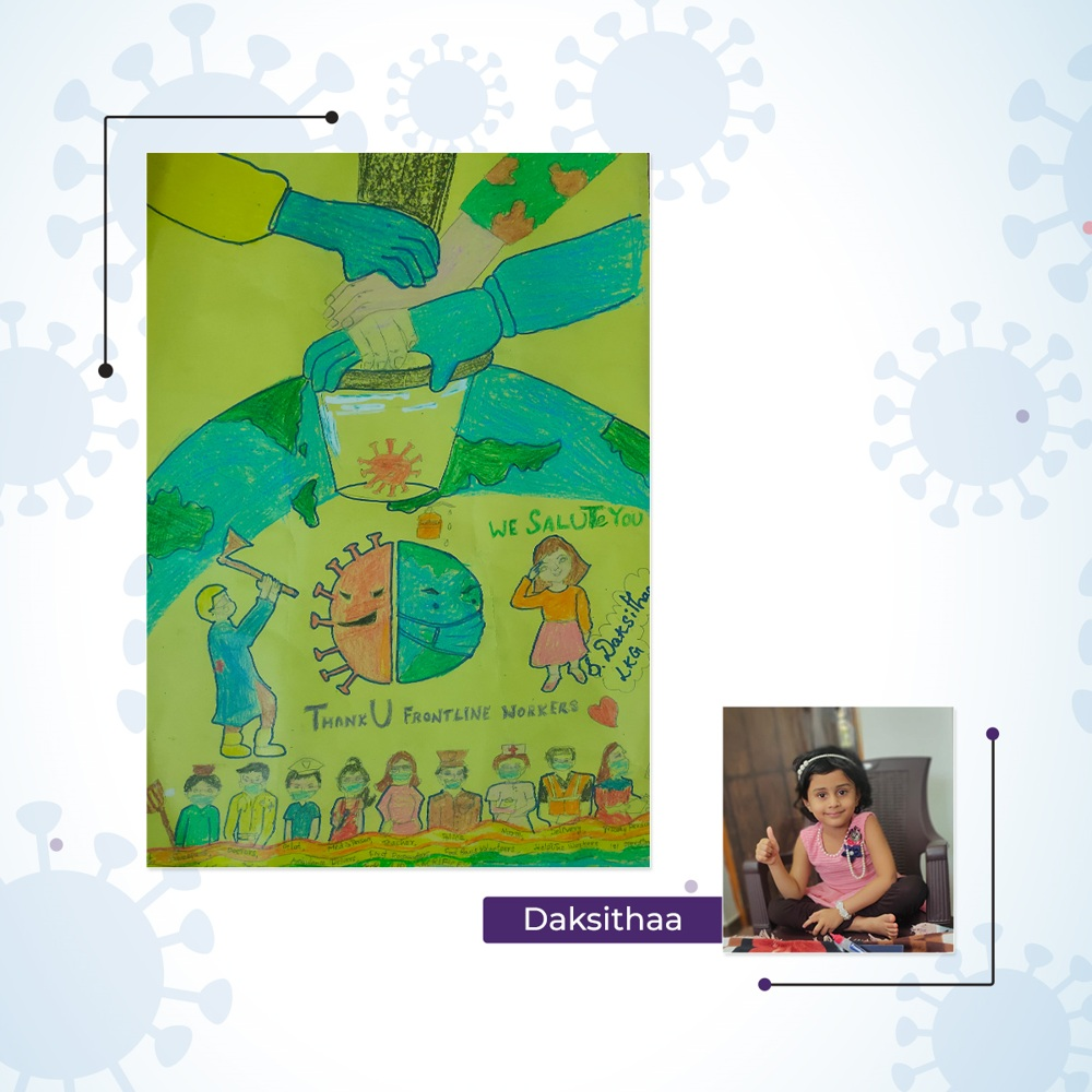 """Kids """"Thank you message to COVID warriors"""" in colorful drawings captured by Cueball Creatives"""